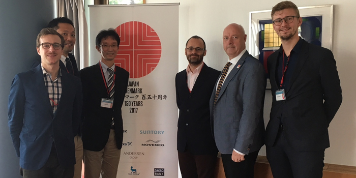 Meeting at the Danish Embassy of Japan on the 18th October 2017.  From the right: Andreas Thingvad (Research assistant, DTU), Freddy Svane (Ambassador of the Kingdom of Denmark), Mattia Marinelli (Associate professor, DTU), Keigo Ikezoe (Manager, Nissan), Kenta Suzuki (Researcher, Nissan), Antonio Zecchino (PhD student, DTU)