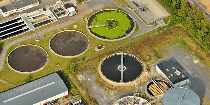 Wastewater plant seen from above. Photo credit: Colourbox