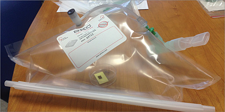Figure 2: The device containing the SERS substrate being exposed to breath from a patient
