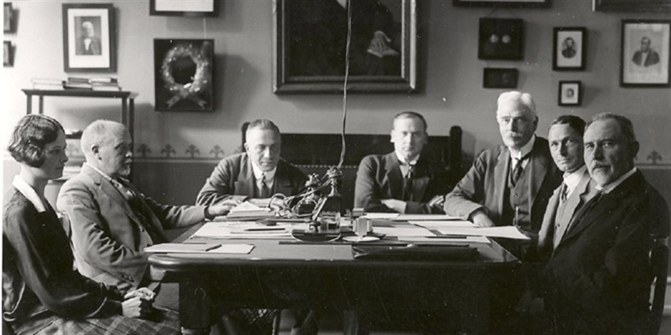 Meeting at P.O. Pedersen's office in 1928.