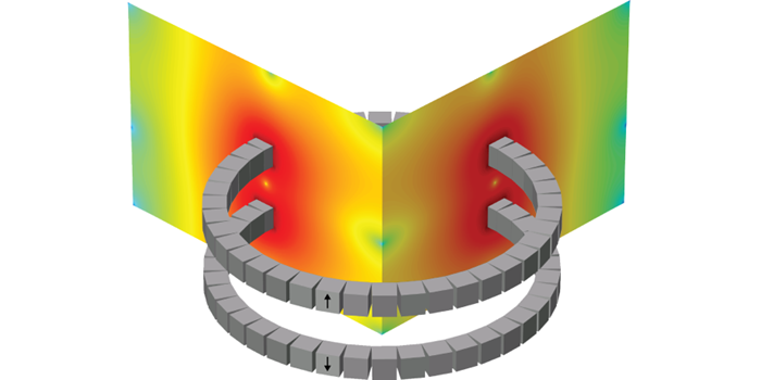 The fly wheel floats using two magnet rings. The fly wheel itself (not shown) is mounted on the top magnet ring which floats over the lower ring. The arrows show the direction of the magnetization of the individual magnets in the rings. The color scale shows the resulting magnetic field (red corresponds to high field). Illustration: DTU Energy