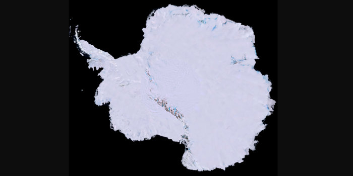 Antarctica mapped by satellite images. The bedrock below West Antarctica is rising surprisingly fast new research published in Science shows. (Image: USGS, NASA, National Science Foundation, British Antarctic Survey).