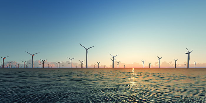 Offshore wind turbines from Colourbox