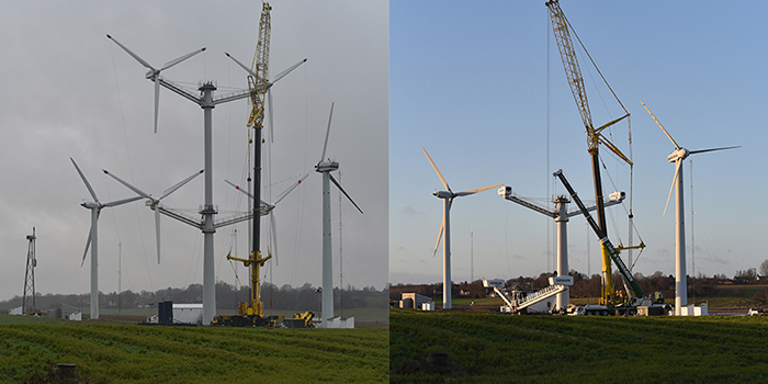 The 4 rotor concept wind turbine before and during the dismanteling