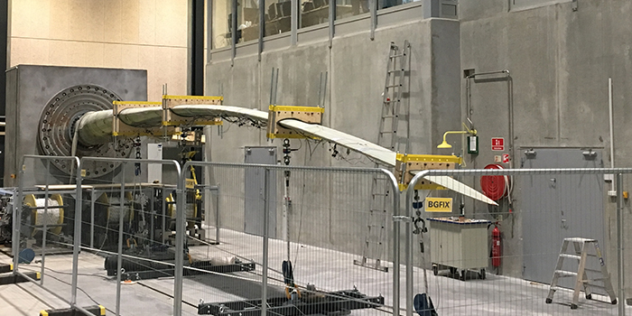 Picture of a wind turbine blade being tested in the Large Scale Facility