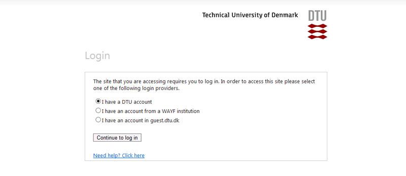 Select your login provider - DTU