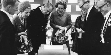 King Frederik, Queen Ingrid and Princess Benedicte opening the electro department in Lundtofte, 1965.